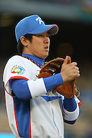 Jeong Choi of Korea during a game against Japan at the World Baseball Classic at Dodger Stadium on March 23, 2009 in Los Angeles, California. (Larry Goren/Four Seam Images)