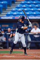 Charlotte Stone Crabs second baseman Tristan Gray (9) at bat during the first game of a doubleheader against the St. Lucie Mets on April 24, 2018 at First Data Field in Port St. Lucie, Florida.  St. Lucie defeated Charlotte 5-3.  (Mike Janes/Four Seam Images)