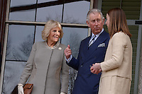 Washington, DC - March 19, 2015: His Royal Highness The Prince of Wales points inside the Abraham Lincoln Cottage in the District of Columbia, March 19, 2015, during a four-day visit to the United States, as the Duchess of Cornwall (l) looks on. Michelle Smith (r), Benefactor of the Lincoln Cottage, guided the tour for Prince Charles. (Photo by Don Baxter/Media Images International)