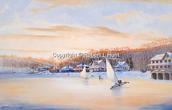 """Ice sailing and skating on Lake Conemaugh in the winter of 1889 before the Johnstown Flood. Fine art limited edition lithographs available, 12"""" x 18.75"""", complete with Certificate of Authenticity."""