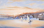 "Ice sailing and skating on Lake Conemaugh in the winter of 1889 before the Johnstown Flood. Fine art limited edition lithographs available, 12"" x 18.75"", complete with Certificate of Authenticity."
