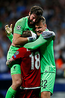 Alisson Becker of Liverpool celebrates with Alberto Moreno of Liverpool and Simon Mignolet of Liverpool after the UEFA Champions League Final match between Tottenham Hotspur and Liverpool at Wanda Metropolitano on June 1st 2019 in Madrid, Spain. (Photo by Daniel Chesterton/phcimages.com)<br /> Foto Daniel Chesterton PHC/ Insidefoto <br /> ITALY ONLY
