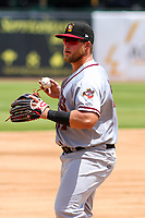 Quad Cities River Bandits third baseman Colton Shaver (37) between innings of a Midwest League game against the Kane County Cougars on July 1, 2018 at Northwestern Medicine Field in Geneva, Illinois. Quad Cities defeated Kane County 3-2. (Brad Krause/Four Seam Images)