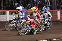 Heat 16: Andreas Jonsson (red), Chris Harris (blue), Cameron Woodward (white) and Rory Schlein (yellow) - Lee Richardson Memorial Speedway Meeting at Arena Essex Raceway, Purfleet - 28/09/12 - MANDATORY CREDIT: Gavin Ellis/TGSPHOTO - Self billing applies where appropriate - 0845 094 6026 - contact@tgsphoto.co.uk - NO UNPAID USE.