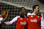 Rotherham United v Crawley Town<br /> 25.1.2014<br /> Sky Bet League One<br /> Picture Shaun Flannery/Trevor Smith Photography<br /> Kieran Agard celebrates his goal with Rotherham team mates Wes Thomas (left) and Haris Vuckic.
