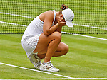 London Wimbledon Championships Day 12 10/07/2021<br /> Ash Barty (AUS) wearing a tribute to her heroine  Evonne Goolagong Crawley, a replica scalloped dress <br /> Roger Parker International Sports Fotos Ltd