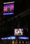 """Theatre Marquee for """"Anastasia"""" starring Christy Altomare and Cody Simpson at the Broadhurst Theatre on November 29, 2018 in New York City."""
