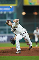 Mississippi State Bulldogs starting pitcher Ethan Small (44) delivers a pitch to the plate against the Houston Cougars in game six of the 2018 Shriners Hospitals for Children College Classic at Minute Maid Park on March 3, 2018 in Houston, Texas. The Bulldogs defeated the Cougars 3-2 in 12 innings. (Brian Westerholt/Four Seam Images)