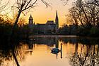 April 14, 2021; Sunrise over St. Mary's Lake. (Photo by Barbara Johnston/University of Notre Dame)