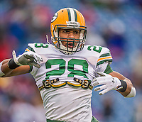 14 December 2014: Green Bay Packers safety Sean Richardson warms up prior to facing the Buffalo Bills at Ralph Wilson Stadium in Orchard Park, NY. The Bills defeated the Packers 21-13, snapping the Packers' 5-game winning streak and keeping the Bills' 2014 playoff hopes alive. Mandatory Credit: Ed Wolfstein Photo *** RAW (NEF) Image File Available ***