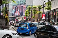 Sunday Afternoon Traffic on Jalan Bukit Bintang, Pavilion Mall on right. Kuala Lumpur, Malaysia.