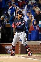 Cleveland Indians Francisco Lindor (12) bats in the first inning during Game 5 of the Major League Baseball World Series against the Chicago Cubs on October 30, 2016 at Wrigley Field in Chicago, Illinois.  (Mike Janes/Four Seam Images)