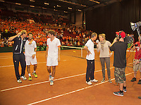 14-sept.-2013,Netherlands, Groningen,  Martini Plaza, Tennis, DavisCup Netherlands-Austria, Doubles,   Dutch winning doubles,  Sport 1 Kristy Boogert interviews captain Jan Siemerink <br /> Photo: Henk Koster