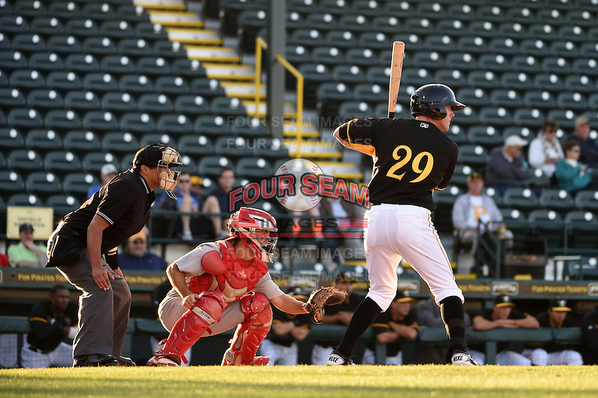 Bradenton Marauders first baseman Jordan Steranka (29) at bat in front of catcher catcher Casey Rasmus (5) and umpire Charlie Ramos during a game against the Palm Beach Cardinals on April 9, 2014 at McKechnie Field in Bradenton, Florida.  Palm Beach defeated Bradenton 3-1.  (Mike Janes/Four Seam Images)