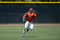 San Francisco Giants Orange left fielder Franklin Labour (49) pursues a fly ball during an Extended Spring Training game against the Seattle Mariners at the San Francisco Giants Training Complex on May 28, 2018 in Scottsdale, Arizona. (Zachary Lucy/Four Seam Images)