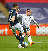 3rd October 2020; Liberty Stadium, Swansea, Glamorgan, Wales; English Football League Championship, Swansea City versus Millwall; Scott Malone of Millwall and Connor Roberts of Swansea City challenge for the ball