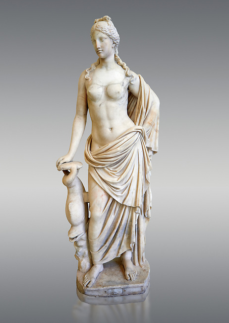 2nd - 1st century BC Roman marble sculpture of Aphrodite (Venus), 'Marine Venus' Type with a dolphin, copied from a Hellanistic Greek original,  inv 6296, Museum of Archaeology, Italy, grey background