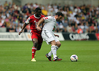 Pictured: Sunday, 01 June 2014<br /> Re: Celebrities v Celebrities football game organised by Sellebrity Scoccer, in aid of Swansea City Community Trust, at the Liberty Stadium, south Wales.