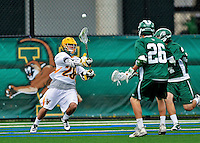 24 April 2012: University of Vermont Catamount Attackman/Midfielder Mark D'Anthony, a Redshirt Freshman from Hampstead, MD, in action against the Dartmouth College Big Green at Virtue Field in Burlington, Vermont. The Catamounts fell to the visiting Big Green 10-5 in Men's Varsity Lacrosse action. Mandatory Credit: Ed Wolfstein Photo