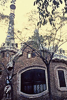 """Called the """"Gingerbread House"""" in Parc Guell, a Gaudi design at the entrance to the park. Barcelona, Spain"""