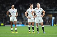 L-R Anthony Watson, Danny Cipriani and Owen Farrell of England - 15/08/2015 - Twickenham Stadium - London <br /> Mandatory Credit: Rob Munro/Stewart Communications