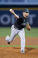 Coastal Carolina Chanticleers relief pitcher Seth Lamando (12) delivers a pitch to the plate against the High Point Panthers at Willard Stadium on March 15, 2014 in High Point, North Carolina.  (Brian Westerholt/Four Seam Images)