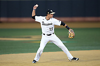 Wake Forest Demon Deacons shortstop Bruce Steel (17) makes a throw to first base against the Kent State Golden Flashes in game two of a double-header at David F. Couch Ballpark on March 4, 2017 in Winston-Salem, North Carolina.  The Demon Deacons defeated the Golden Flashes 5-0.  (Brian Westerholt/Four Seam Images)