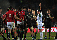 Referee Jaco Peyper awards a penalty to the NZ Maori during the 2017 DHL Lions Series rugby union match between the NZ Maori and British & Irish Lions at Rotorua International Stadium in Rotorua, New Zealand on Saturday, 17 June 2017. Photo: Dave Lintott / lintottphoto.co.nz