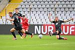 Leon Dajaku (Bayern München, FCB, 7) zieht ab, Torschuss, v.li: Kevin Kraus (Kaiserslautern, 5) Daniel Patrick Hanslik (Kaiserslautern, 19) Tim Rieder (Kaiserslautern, 17) beim Spiel in der 3. Liga, FC Bayern München II -1. FC Kaiserslautern.<br /> <br /> Foto © PIX-Sportfotos *** Foto ist honorarpflichtig! *** Auf Anfrage in hoeherer Qualitaet/Aufloesung. Belegexemplar erbeten. Veroeffentlichung ausschliesslich fuer journalistisch-publizistische Zwecke. For editorial use only. DFL regulations prohibit any use of photographs as image sequences and/or quasi-video.
