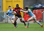 Ikem Ugwueru of Ennis  in action against Kevin Le Gear and Oisin Cooke of Garryowen during their U-18 Munster Club Final at Thomond Park. Photograph by John Kelly.
