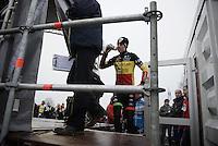 Wout Van Aert (BEL/Crelan-Vastgoedservice) getting onto the podium<br /> <br /> Grand Prix Adrie van der Poel, Hoogerheide 2016<br /> UCI CX World Cup