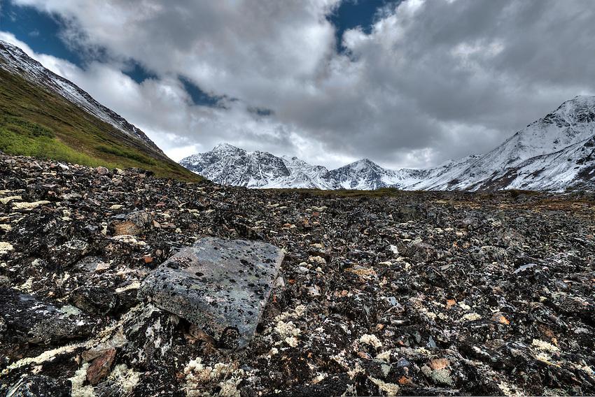 Rockslides above Eagle Lake, Alaska. HDR