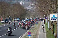 peloton stayed locked for a very long time into the race as Ethan Hayter (GBR/INEOS Grenadiers) breaks off up the Nieuwe Kwaremont<br /> <br /> 76th Dwars door Vlaanderen 2021 (MEN1.UWT)<br /> 1 day race from Roeselare to Waregem (184km)<br /> <br /> ©kramon