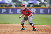 NJIT Highlanders first baseman Tommy Derer (27) on defense against the High Point Panthers at Williard Stadium on February 18, 2017 in High Point, North Carolina. The Panthers defeated the Highlanders 11-0 in game one of a double-header. (Brian Westerholt/Four Seam Images)