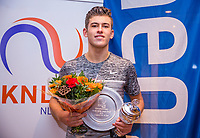 Hilversum, Netherlands, December 3, 2017, Winter Youth Circuit Masters, 12,14,and 16, years, prizegiving 16 years, Tijmen Loof overall winner boys 16 years <br /> Photo: Tennisimages/Henk Koster