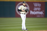 Wake Forest Demon Deacons shortstop Chase Mascolo (28) on defense against the Charlotte 49ers at BB&T BallPark on March 13, 2018 in Charlotte, North Carolina.  The 49ers defeated the Demon Deacons 13-1.  (Brian Westerholt/Four Seam Images)