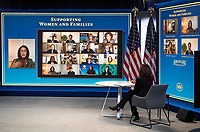 United States Vice President Kamala Harris meets with women leaders in Congress and advocacy organizations on the American Rescue Plan, during a virtual roundtable on the American Rescue Plan, at the Eisenhower Executive Office Building in Washington, DC on Thursday, February 18, 2021. The Rescue Plan includes direct payments to those in need, money to help reopen schools and extended unemployment benefits.<br /> Credit: Kevin Dietsch / Pool via CNP /MediaPunch