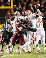 The tenth ranked South Carolina Gamecocks host the 6th ranked Clemson Tigers at Williams-Brice Stadium in Columbia, South Carolina.  USC won 31-17 for their fifth straight win over Clemson.  South Carolina Gamecocks defensive end Jadeveon Clowney (7) tries to sack Clemson Tigers quarterback Tajh Boyd (10)