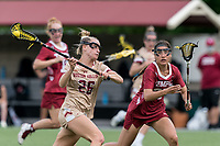 NEWTON, MA - MAY 16: Cara Urbank #26 of Boston College takes a shot during NCAA Division I Women's Lacrosse Tournament second round game between Temple University and Boston College at Newton Campus Lacrosse Field on May 16, 2021 in Newton, Massachusetts.