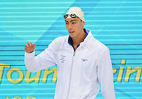 August 01, 2012..Yakov Toumarkin arrives to compete in Men's 200m Backstroke Semifinal at the Aquatics Center on day five of 2012 Olympic Games in London, United Kingdom.