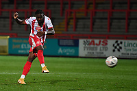 Aramide Oteh of Stevenage FC scores the winning penalty  during Stevenage during Stevenage vs Concord Rangers , Emirates FA Cup Football at the Lamex Stadium on 7th November 2020