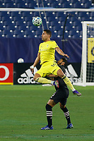 20th November 2020, Nashville, TN, USA;  Nashville SC forward Daniel Rios wins the header over Inter Miami defender Nicolas Figal (5) during an MLS Cup Playoffs Eastern Conference Play-In game between Nashville SC and Inter Miami, November 20, 2020 at Nissan Stadium