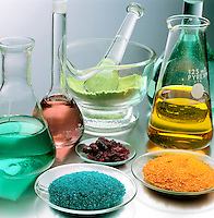 LABGLASS CONTAINING TRANSITION METAL COMPOUNDS<br /> (Variations Available).<br /> Solids & Solutions in Mortar, Flasks & Watchglass<br /> Pyrex and Kimax borosilicate glassware which is in a range of heat- and chemical-resistant glasses prepared by fusing together boron(III) oxide, silicon dioxide, and, usually, a metal oxide.