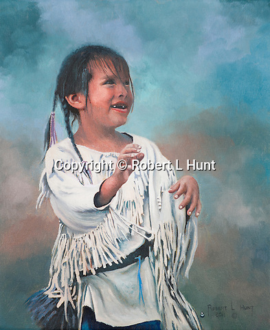 """A young and happy Sioux girl smiles while moving and playing in traditional fringed clothing, a Native American child portrait. Oil on canvas, 12"""" x 10""""."""