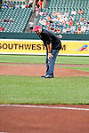 Baltimore, MD- May 15: Doug O'Neill trainer of 138th Kentucky Derby Winner I'll Have Another throws out the first pitch at Oriole Park at Camden Yards during the New York Yankees v Baltimore Orioles in Baltimore, MD on 05/15/12. (Ryan Lasek/ Eclipse Sportswire)