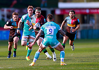 17th April 2021; Twickenham Stoop, London, England; English Premiership Rugby, Harlequins versus Worcester Warriors; Scott Baldwin of Harlequins taking the ball forward in attack