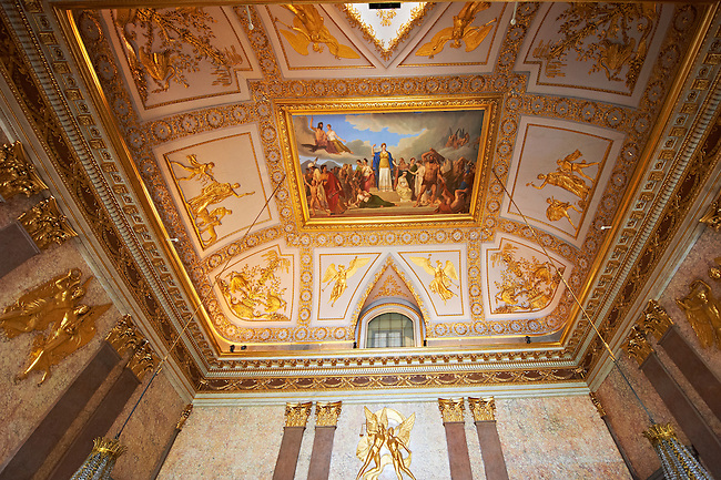 The Room of Mars - The Neoclassical fresco by Antonia Gallianop painted in 1815, represents the death of Hector and the triumph of Hector .The Kings of Naples Royal Palace of Caserta, Italy. A UNESCO World Heritage Site