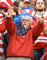 USA fan. The USA defeated Honduras, 2-1, in a World Cup qualifying match at Soldier Field in Chicago, IL on June 6, 2009.