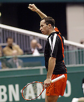 24-2-06, Netherlands, tennis, Rotterdam, ABNAMROWTT, Radek Stepanek in action against Novak Djokovic
