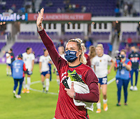 ORLANDO, FL - JANUARY 22: Ashlyn Harris #18 of the USWNT waves to the crowd after a game between Colombia and USWNT at Exploria stadium on January 22, 2021 in Orlando, Florida.